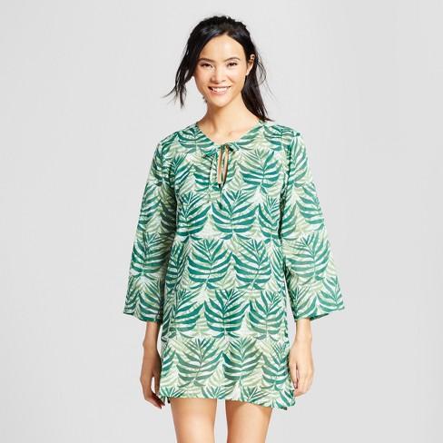 Rock Flower Paper Women S Palm Print Beach Tunic Green S