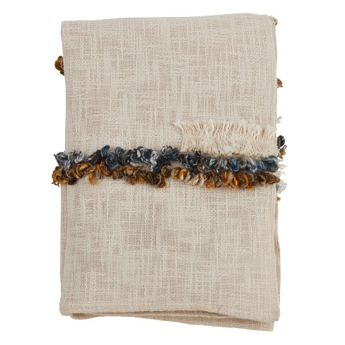 "48""x72"" Embroidered Design Cotton Throw Blanket Ivory - SARO - image 1 of 4"