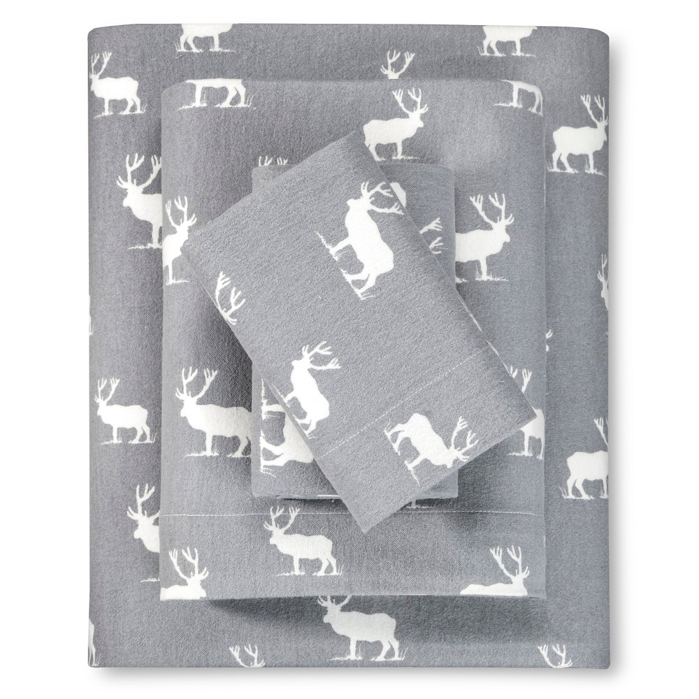 Full Flannel Sheet Set Gray Elk Grove - Eddie Bauer