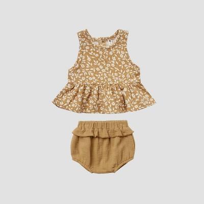 Q by Quincy Mae Baby Girls' 2pc Floral Peplum Gauze Top & Bubble Shorts Set - Honey Yellow 0-3M