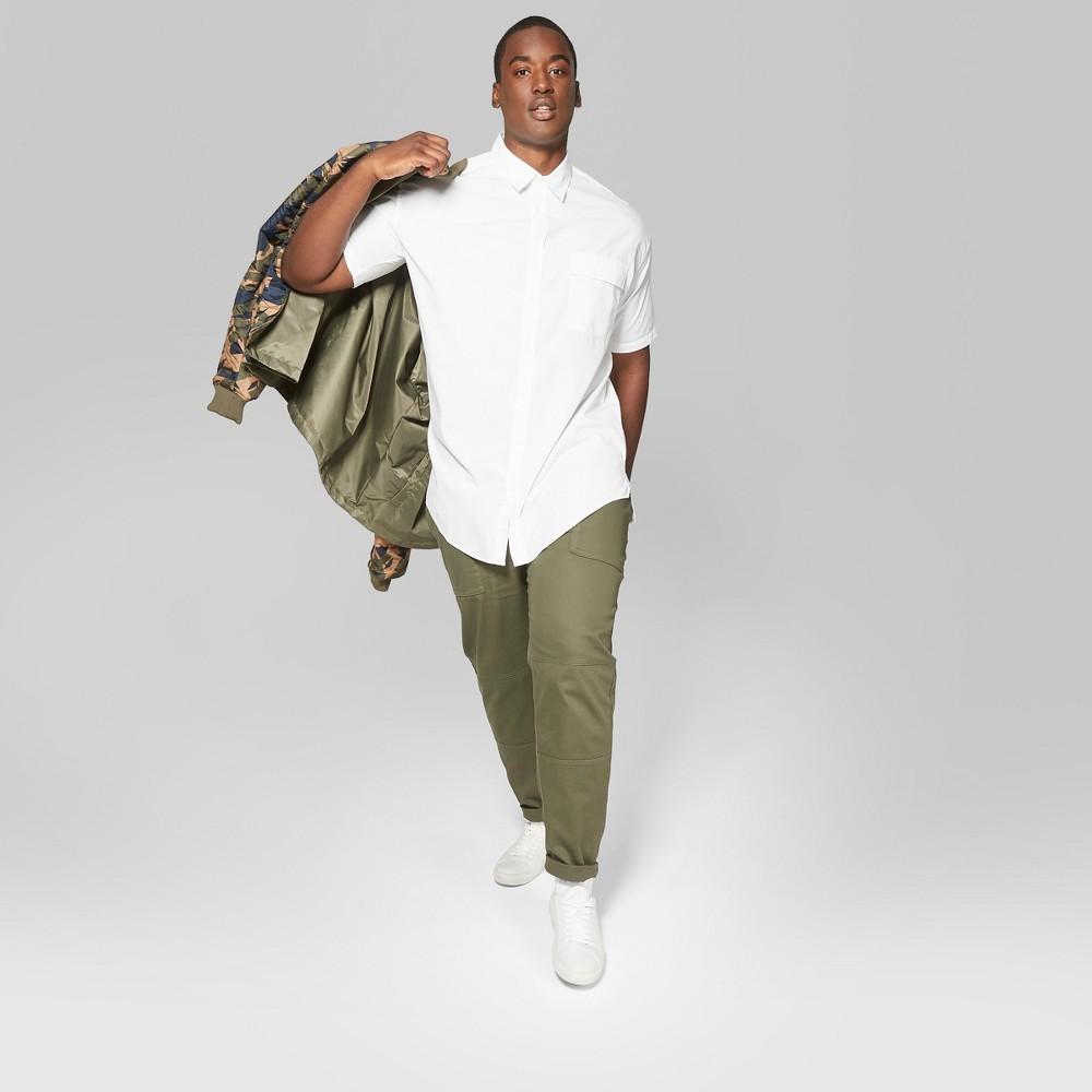 Men's Big & Tall Short Sleeve Long Line Button-Down Shirt - Original Use White 5XBT