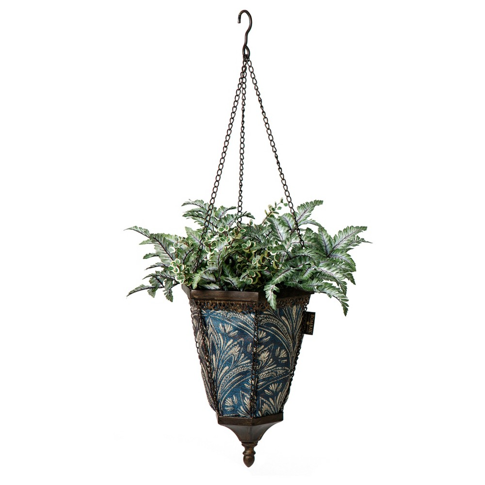 Naya Hanging Fabric Planter With Royal Zanzibar Liner - Black - Bombay Outdoors