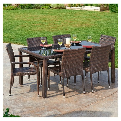 Outdoor wicker dining sets Belham Living Monticello Allweather Wicker Sofa Sectional Thehom Toria 7piece Allweather Wicker Dining Set Espresso Brown Target Thehom Toria 7piece Allweather Wicker Dining Set Espresso Brown