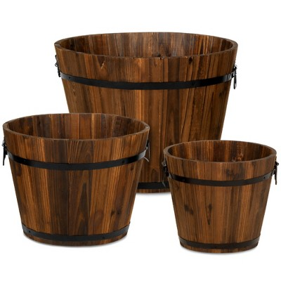 Best Choice Products Set of 3 Rustic Wood Bucket Barrel Flower Garden Planters Set w/ Drainage Holes, Multiple Sizes