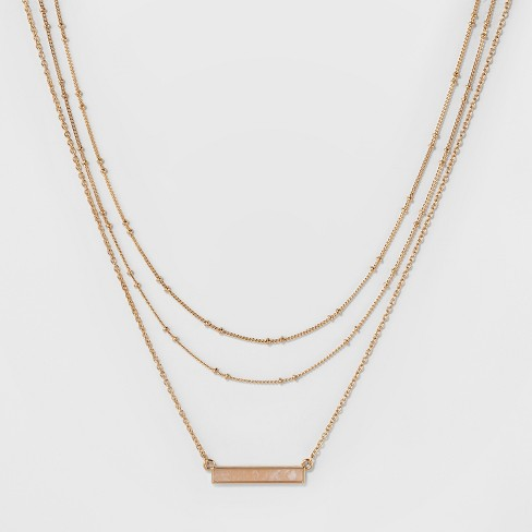 SUGARFIX by BaubleBar Layered Necklace with Bar - Gold