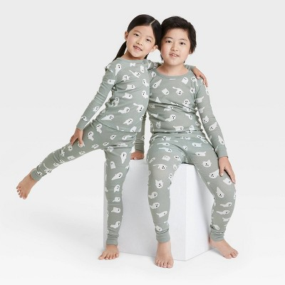 Toddler Halloween Ghost Print Matching Family Pajama Set - Gray