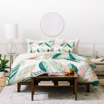 Floral Zoe Wodarz Painterly Palm Duvet Cover Set Green - Deny Designs