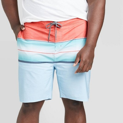"Men's Big & Tall 10"" Striped Fiery Board Shorts - Goodfellow & Co™ Cayenne Red"