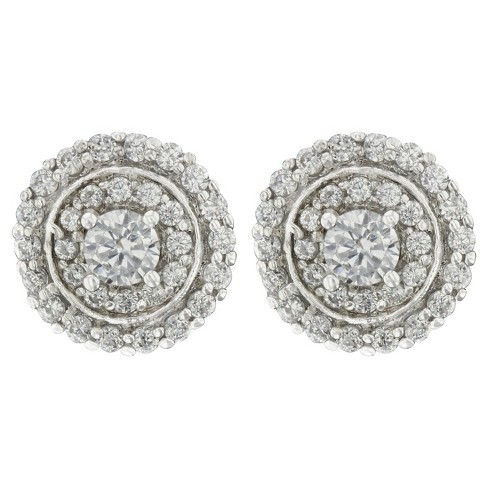Cubic Zirconia Button Post Earrings Plated Brass Round 2 Rows Halo - Silver/Clear - image 1 of 1