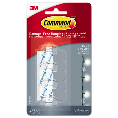 "Command Cord Clip Round 3/4""W w/Adhesive Clear 4/Pack 17017CLRES"