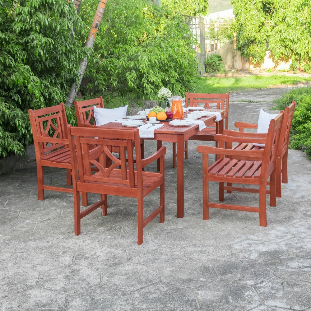 Malibu 7pc Rectangle Wood Outdoor Patio Dining Set - Tan - Vifah -  V98SET65