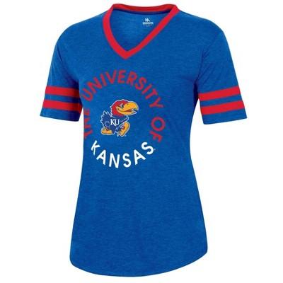 NCAA Kansas Jayhawks Women's Short Sleeve V-Neck Heathered T-Shirt