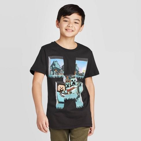 Boys' Short Sleeve Over World Windows Minecraft T-Shirt - Black - image 1 of 3