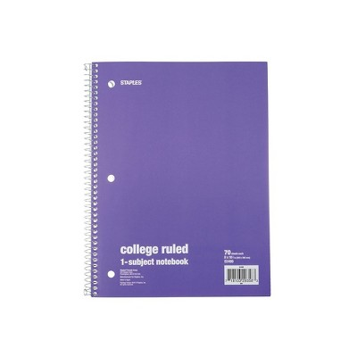 """Staples 1 Subject Notebook College Ruled 8"""" x 10-1/2"""" Purple 1484083"""