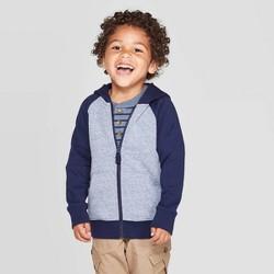 Toddler Boys' Fleece Zip-Up Hoodie - Cat & Jack™ Heather Navy
