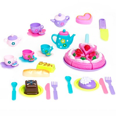 Best Choice Products 37-Piece Pretend Kitchen Tea Party Play Set w/ Fake Food, Cake
