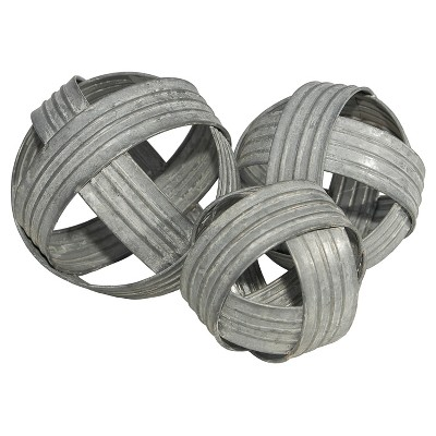 Decorative Metal Ball Sculpture Set Silver 3pk - VIP Home & Garden