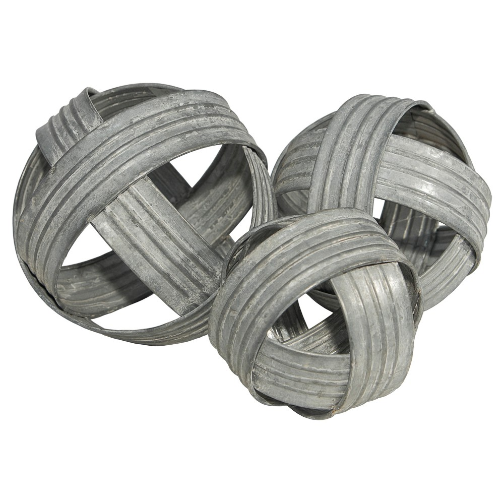 Image of Decorative Metal Ball Sculpture Set Silver 3pk - VIP Home & Garden