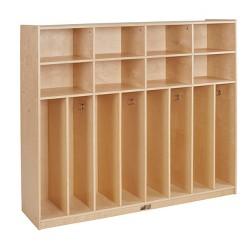 "ECR4Kids 8-Section Coat Locker - Slim-Fit Birch Storage with 8 Cubbies, 60"" H"