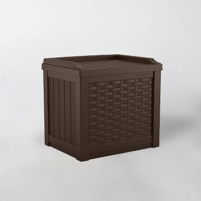 22gal Java Resin Wicker Front Storage Seat Brown - Suncast