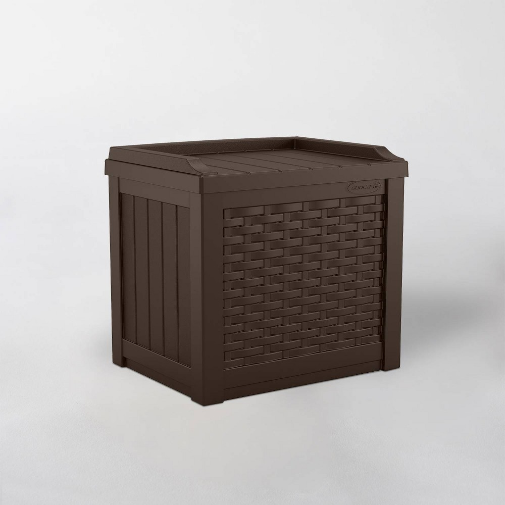 Image of 22gal Java Resin Wicker Front Storage Seat Brown - Suncast