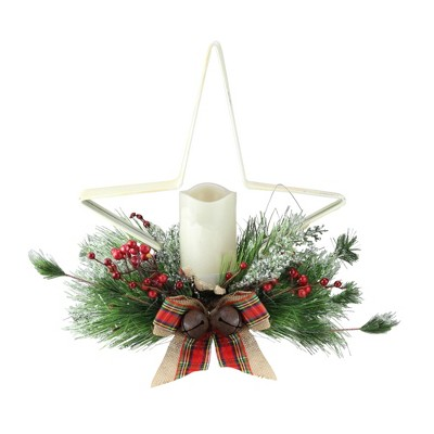 "Gerson 15"" Pine Needle, Berry and Jingle Bell Star Shaped Candle Holder - White"