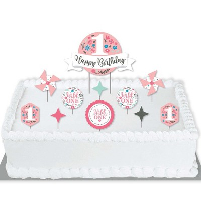 Big Dot of Happiness She's a Wild One - Boho Floral 1st Birthday Party Cake Decorating Kit - Happy Birthday Cake Topper Set - 11 Pieces