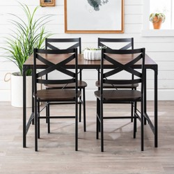 5pc Angle Iron Dining Set with Back Chairs - Saracina Home