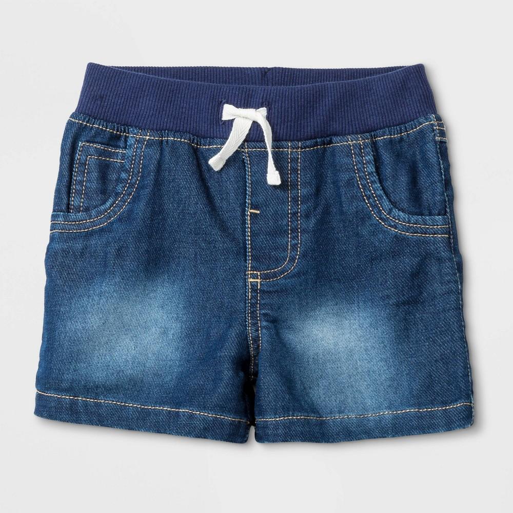 Image of Baby Boys' Medium Wash Jean Shorts - Cat & Jack Blue 0-3M, Boy's
