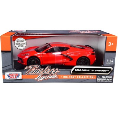 """2020 Chevrolet Corvette C8 Stingray Red with Silver Racing Stripes """"Timeless Legends"""" 1/24 Diecast Model Car by Motormax"""