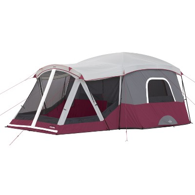 CORE 40072 11 Person Family Outdoor Camping Cabin Tent with Screen Room, Red
