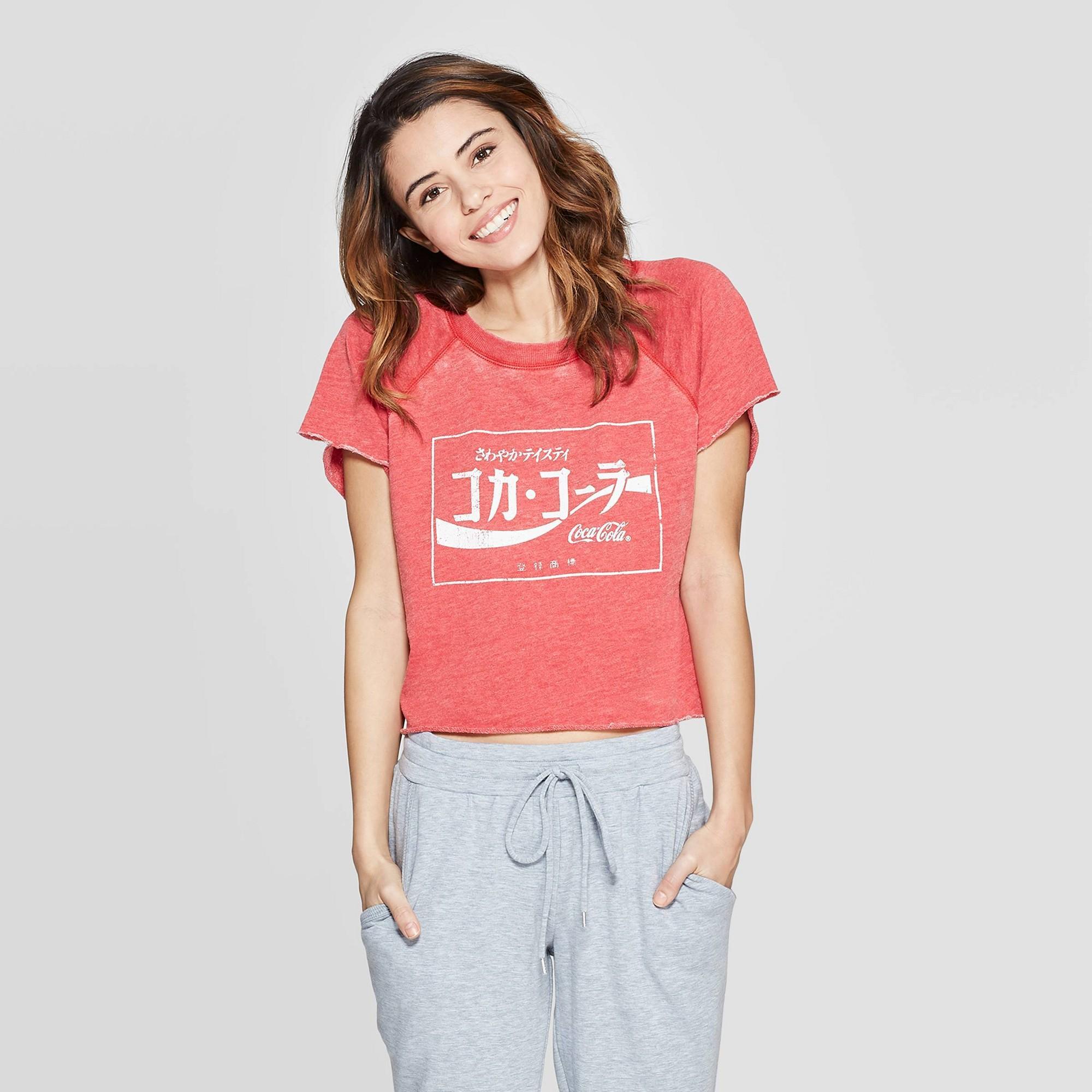 Women's Coca-Cola Crop Short Sleeve Sleep Sweatshirt - Grayson Threads Red L