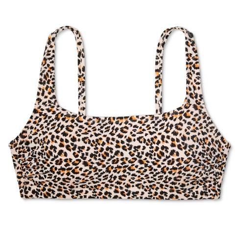 adacf6b5789da Women s Plus Size Square Neck Ribbed Bralette Bikini Top - Xhilaration™  Animal Print