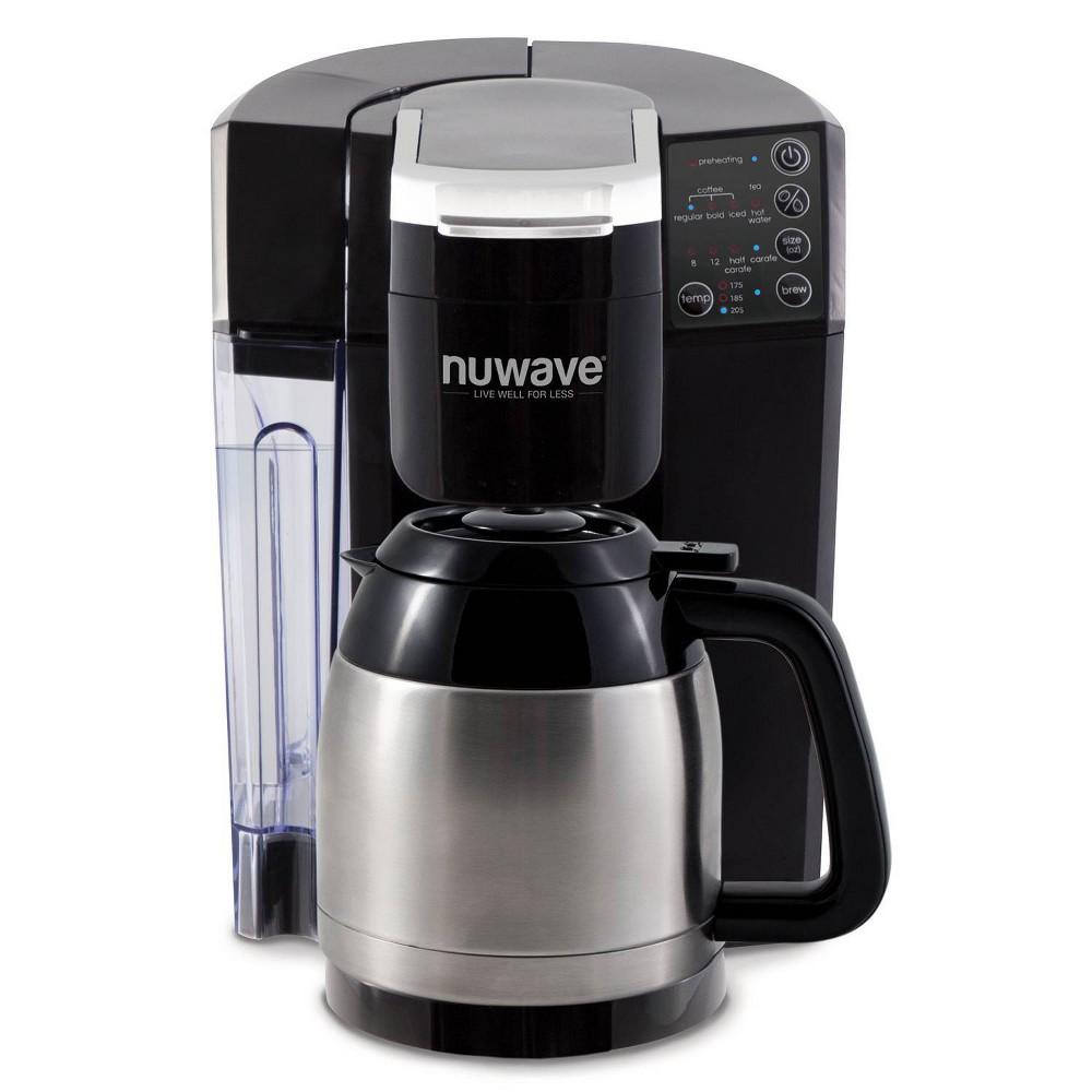 NuWave 45011 Bruhub Single Serve Coffee Maker with Stainless Steel Carafe, Black