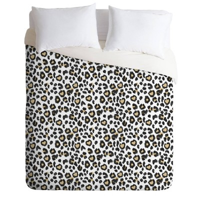 Queen/Full Dash and Ash Leopard Duvet Set Beige - Deny Designs