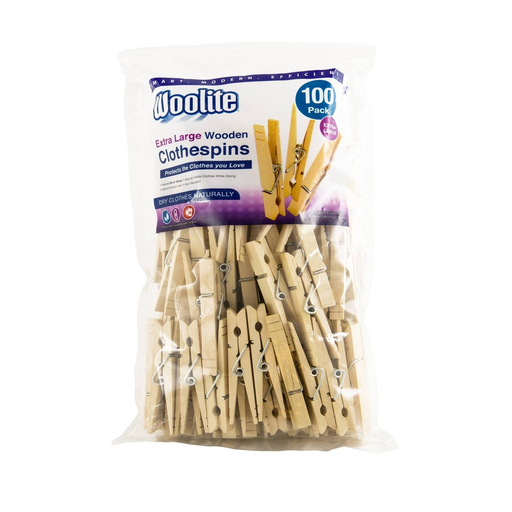 Image of Woolite 100pk Extra Large Wooden Clothespins