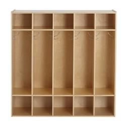 "ECR4Kids 5-Section Classroom Locker | Birch Wood Coat & Backpack Storage for Kids | 46"" H"