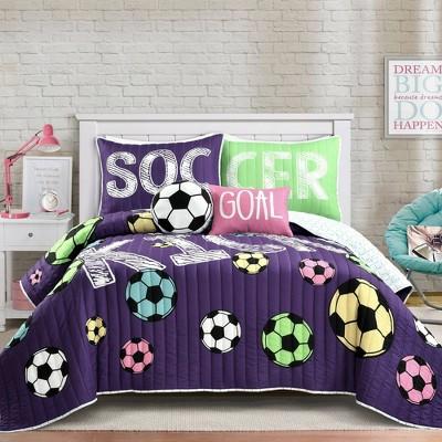 Girls Soccer Kick Quilt Set Purple - Lush Décor