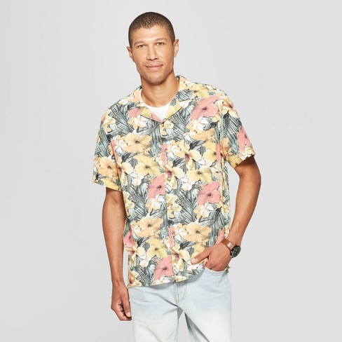 Men's Floral Print Short Sleeve Button-Down Shirt - Goodfellow & Co™ - image 1 of 4