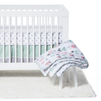 Sweet Jojo Designs Crib Bedding Set - Mod Arrow - Coral/Mint 11pc