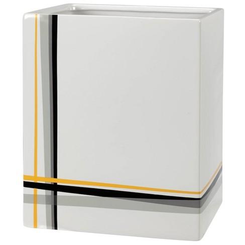 Modern Plaid Wastebasket White Gray, Modern Bathroom Wastebasket