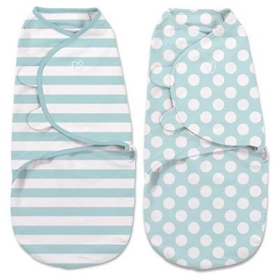 SwaddleMe® Original Swaddle 2pk - Mint Stripes/Dots (L, 4-6mo)