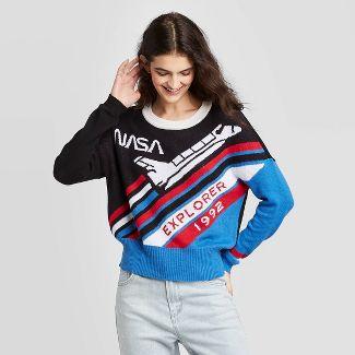 Women's NASA Crewneck Graphic Sweater - Well Worn (Juniors') - Black/Red/Blue XXL