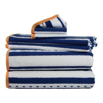 6pk Stripe Bath Towel Navy - Freshee