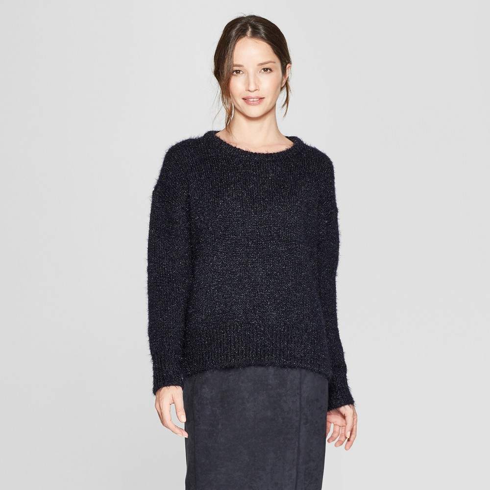 Women's Long Sleeve Eyelash Yarn Pullover Sweater - Prologue Navy S, Blue