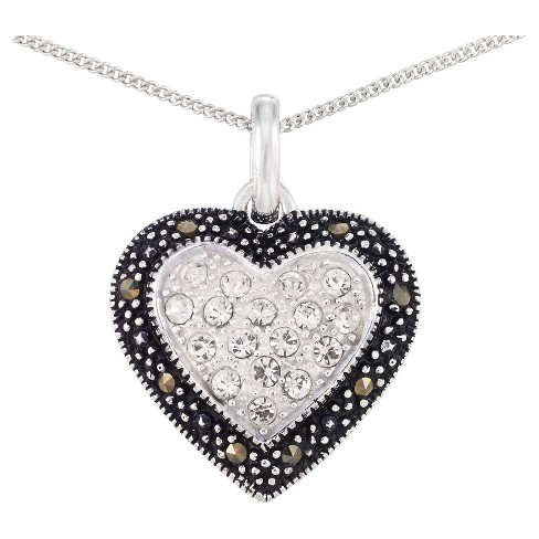 Marcasite and Crystal Center Heart Pendant-Sterling Silver - image 1 of 1