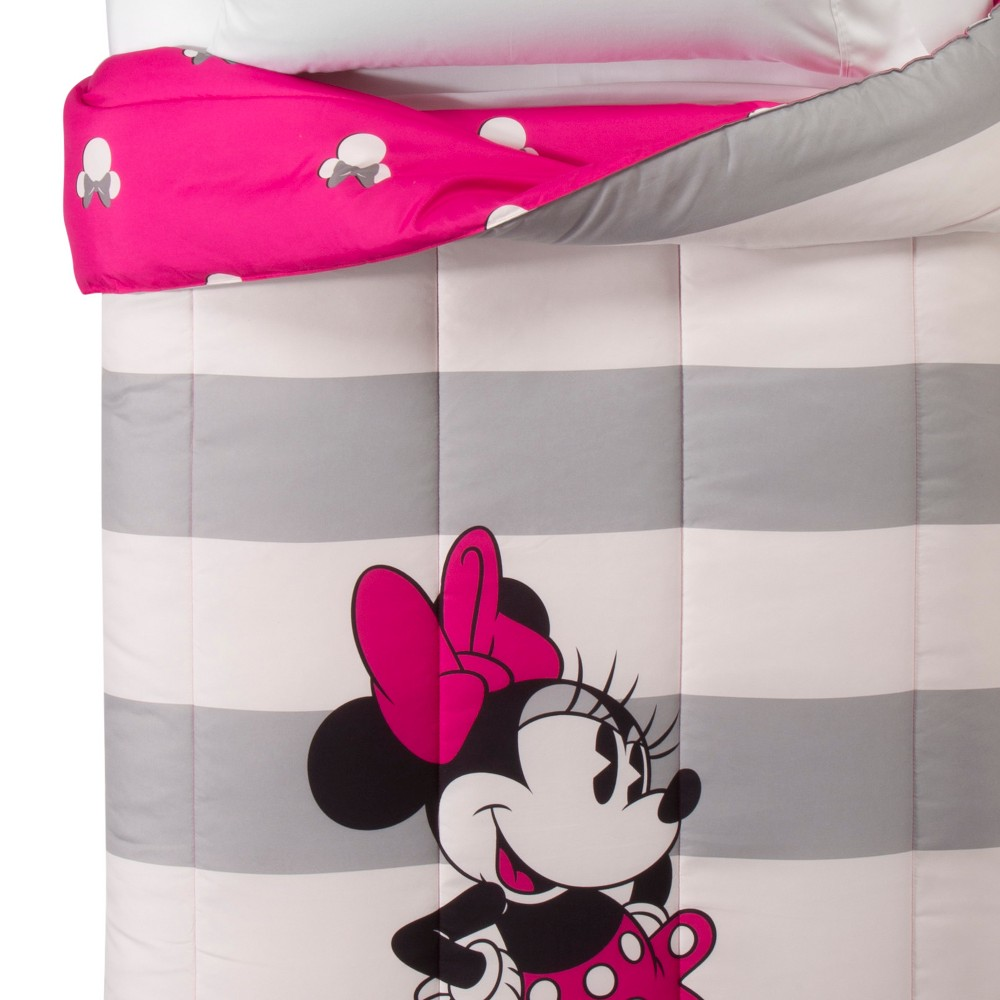 Image of Disney Minnie Mouse Twin/Full Comforter Gray/White