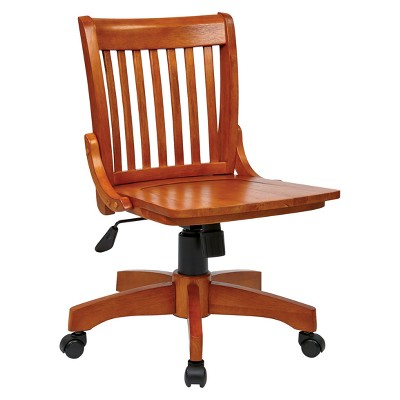 Armless Wood Banker's Chair Fruitwood - Office Star