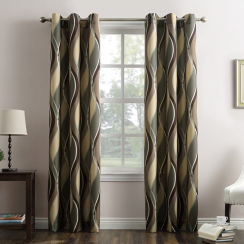 Intersect Wave Print Casual Textured Grommet Curtain Panel