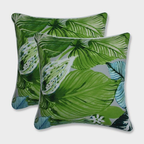 "16.5"" 2pk Lush Leaf Jungle Throw Pillows Green - Pillow Perfect - image 1 of 1"